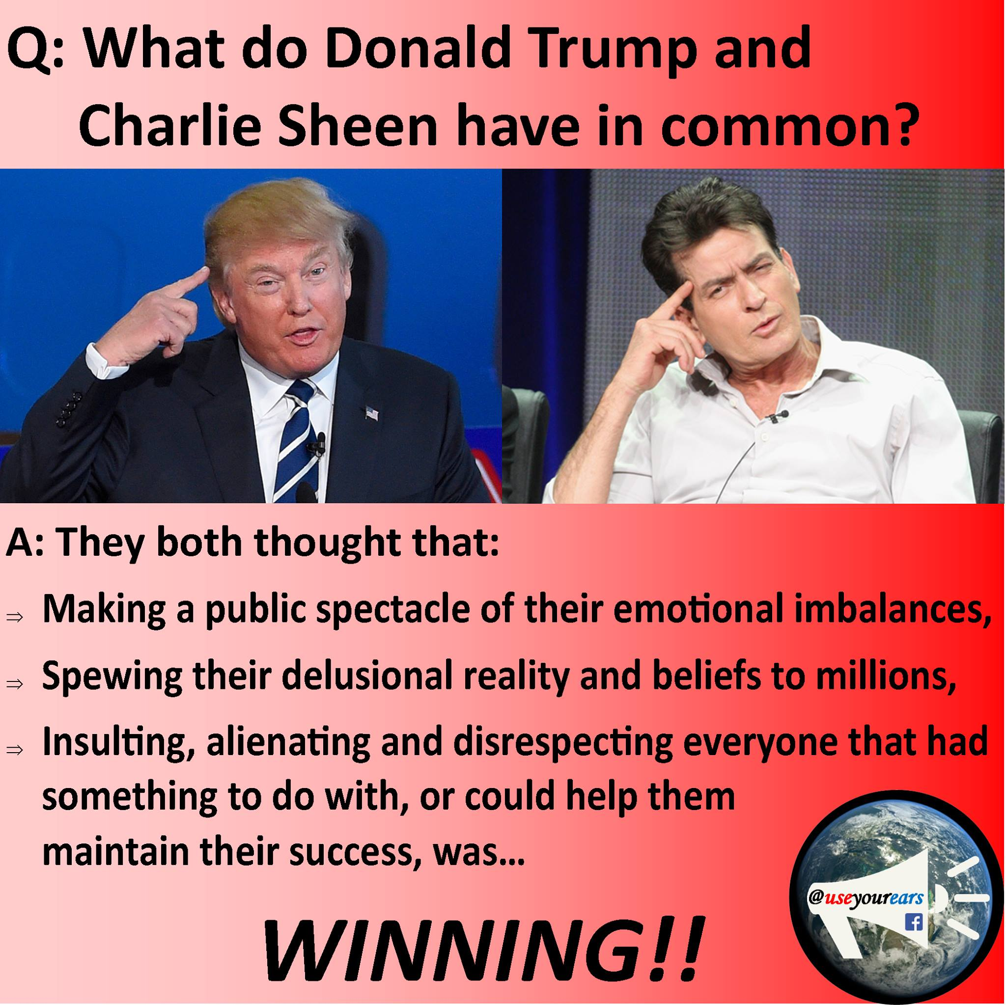 What do Donald Trump and Charlie Sheen Have in Common?